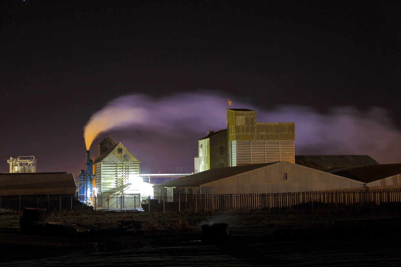 Grain silo's at night 1